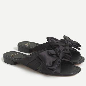 {J. Crew} Abbie Bow Sandals in Black Satin